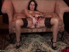 Long legged lady in stockings turns on her pussy videos