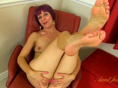 White boots on a purple haired mature solo slut videos