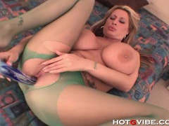 Busty milf babe gets horny and plays with her dildo videos