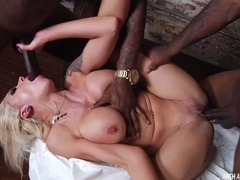 Nina elle in a hard interracial threeway videos
