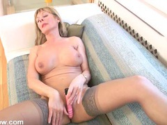 Heels and stockings milf turns on her vibrator to get off videos