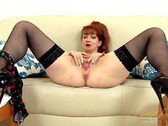 Hot lingerie and a slutty skirt on a fingering mature redhead videos