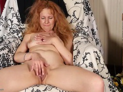 Cute old redhead rubs her shaved pussy solo videos