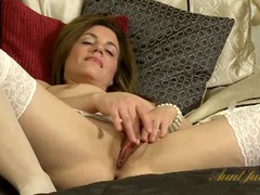 Classy girl in pearls sensually rubs her pussy movies at kilopics.net