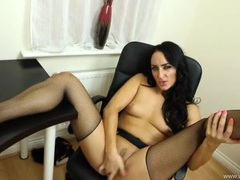 Naughty british girl in fishnets fingers and talks dirty videos