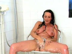 Lots of soap makes her hairy bush super sexy movies at lingerie-mania.com