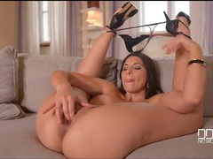 Zafira stuffs a butt plug in her asshole and masturbates movies at freekilomovies.com