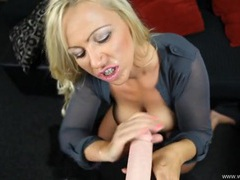 Babe in a blouse enjoys a hot pov dildo fuck videos