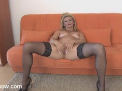 Lace top stockings are sizzling hot on a fingering milf movies at sgirls.net
