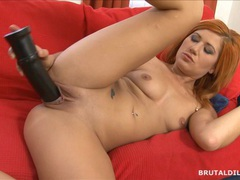 Strawberry blonde beauty swallowing a big brutal dildo movies at kilopics.net