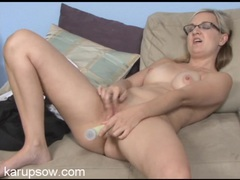 Nerdy glasses are hot on the masturbating blonde milf movies at sgirls.net