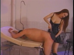 Mistress in a leather dress binds and spanks her slave movies at sgirls.net