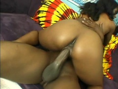 Slut sits her soaked black pussy on a big dick videos