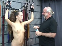 Bound and blindfolded sub girl in the dungeon tubes