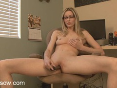 Skinny milf beauty in glasses gets busy with a vibrator movies at sgirls.net
