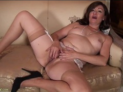 Gorgeous mature chick in tan stockings masturbates solo movies at find-best-panties.com