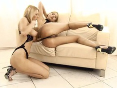 Blondes dressed in black lingerie eat cunt lustily videos
