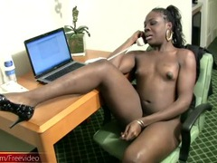 Ebony tgirl gets a sexy erection in the hotel movies at find-best-ass.com