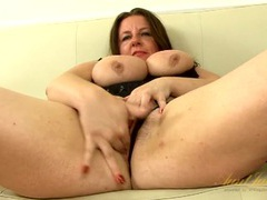 Thick mature chick strips and fingers her twat videos