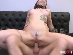 Huge facial for his slutty tattooed girl movies at adspics.com