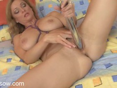 Shiny dildo fucking action with a naked milf babe movies at sgirls.net