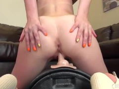 Sexy tan lines on a sybian riding redheaded girl videos