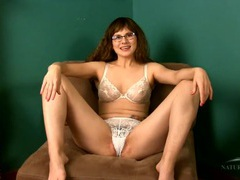 Nerdy cutie chatting in her lace bra and panty set movies at sgirls.net
