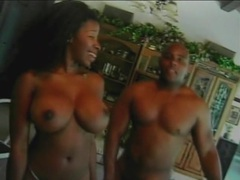 Big dick nuts all over her big black titties videos