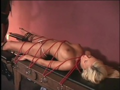 Blonde tied to a table and flogged lustily movies at kilopills.com