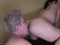 Old and young ladies have a hot lesbian foursome videos