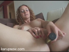 Solo babe with beautiful curly hair fucks a dildo movies at sgirls.net