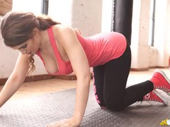 Yoga positions make for perfect downblouse tease fun movies
