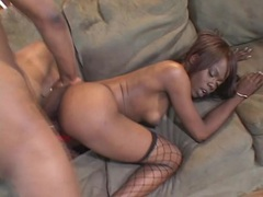 Red panties on a hot hardcore black chick videos