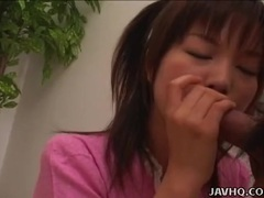 Pigtailed japanese sweetheart jerks him off videos