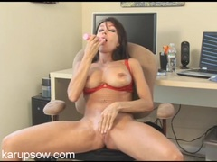 Fit naked milf rubbing a toy all over her cunt clip