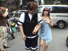Subtitled extreme japanese public exposure blindfold prank tubes at lingerie-mania.com