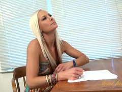 Cute blonde at the kitchen table strips and spreads wide videos