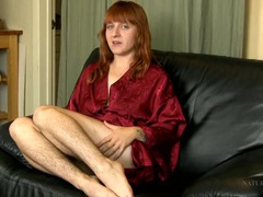 Super hairy legs on a redheaded babe movies at lingerie-mania.com