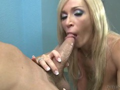 Big cock blowjob in the office from a fake tits blonde movies at sgirls.net