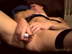 Dirty girl fingers her asshole and toys her pussy tubes