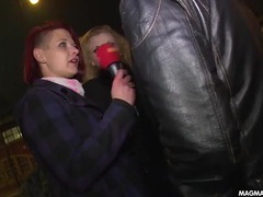 Cutie with a microphone talks dirty on the streets movies at sgirls.net