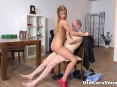 Grandpa bends a slut over the table to fuck her videos