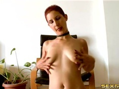 Skinny slut with short red hair plays with her tits tubes