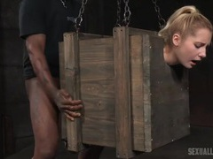 Slut in a bondage box fucked by big dicks videos