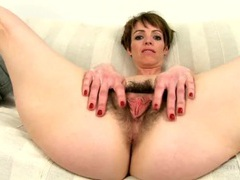 Hairy milf babe with sexy short hair and tiny tits tubes