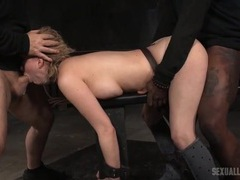Cute sex slave used by two guys in the dungeon movies at kilotop.com