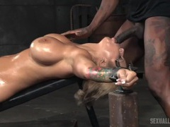 Big tits cutie oiled up and put in sexy bondage movies at kilopics.net