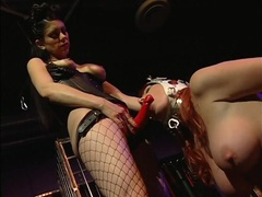 Red strapon cock fucks a sensual chained up slut movies at kilotop.com