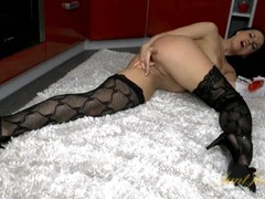 Hot patterned stockings on a dildo fucking brunette movies at find-best-pussy.com