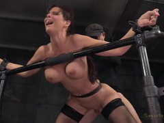 Milf in the dungeon used as a sexy slave movies at lingerie-mania.com